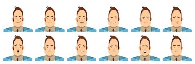 Набор аватаров с мужскими эмоциями, включая радость, сомнение Бесплатные векторы