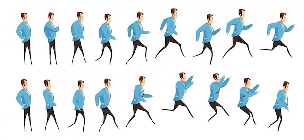 Анимация с последовательностью кадров бегущего и прыгающего человека Бесплатные векторы