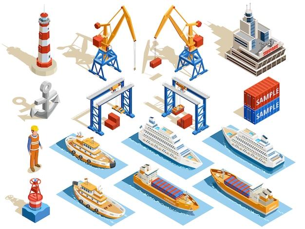 Морской порт изометрические набор Бесплатные векторы