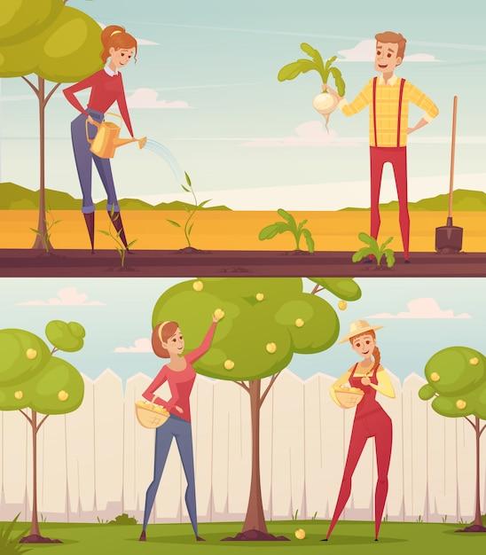 Набор из двух прямоугольных садовник фермер мультфильм люди красочные композиции Бесплатные векторы
