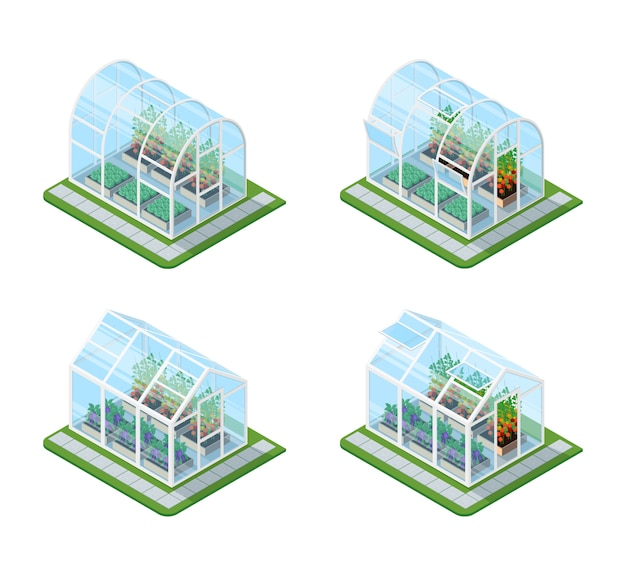 ガラス温室等尺性セット 無料ベクター