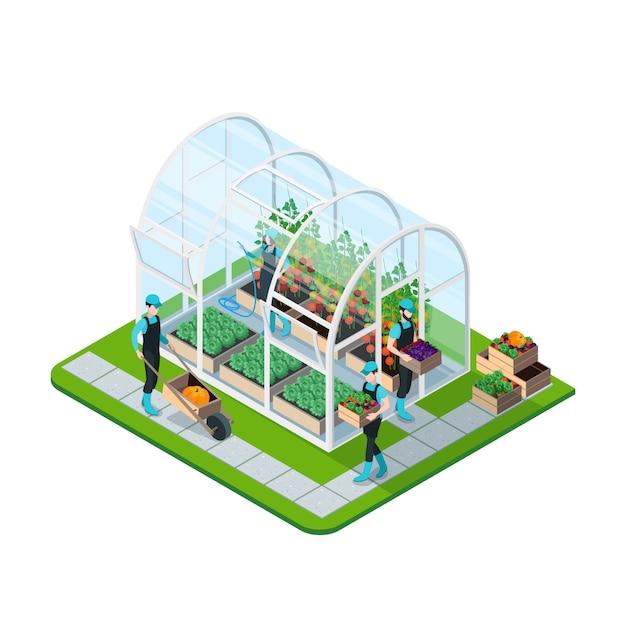ガラス温室等尺性テンプレート 無料ベクター