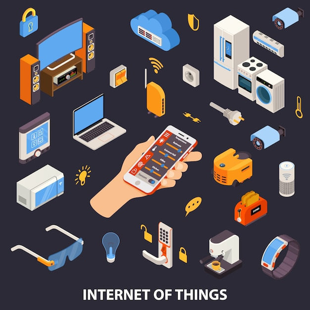 Интернет вещей контролирует изометрический плакат Бесплатные векторы