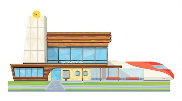 モダンなスチールガラス駅の建物正面のフラット画像 無料ベクター
