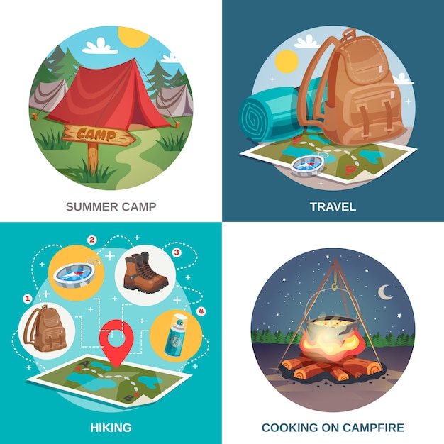 夏の旅行デザインコンセプト 無料ベクター