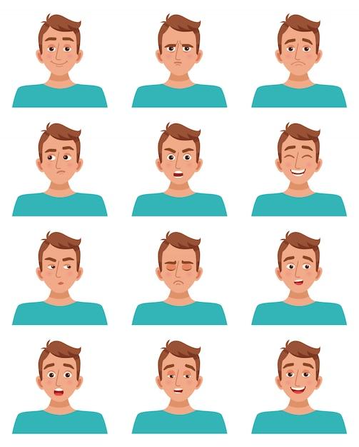 男性の顔の表情セット 無料ベクター