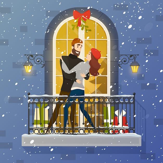 Романтический балкон сцена плоский иллюстрация плакат Бесплатные векторы