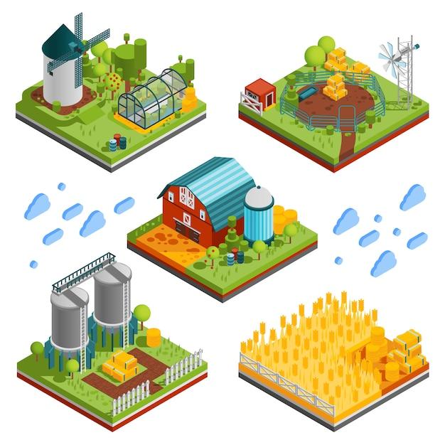 Элементы ландшафта сельской фермы Бесплатные векторы