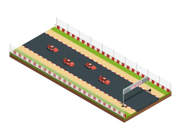 レーシングコースの一部とカーレーストラックアイソメ図 無料ベクター