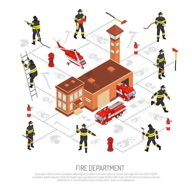 消防署のインフォグラフィック 無料ベクター
