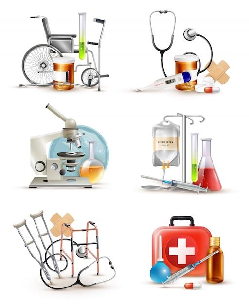Набор элементов медицинского снабжения Бесплатные векторы