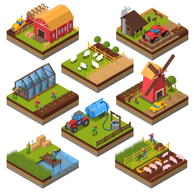 Сельскохозяйственные композиции изометрические набор Бесплатные векторы