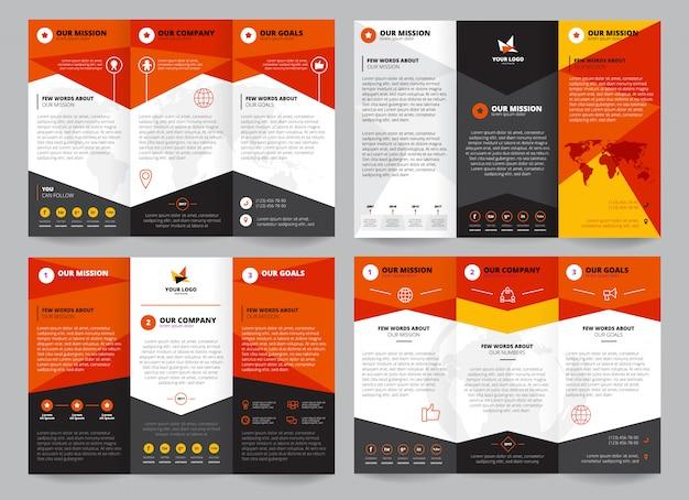 ロゴの企業情報のための場所で設定されたパンフレットテンプレート 無料ベクター