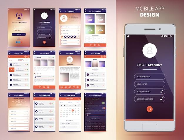 Шаблоны дизайна приложений смартфона набор плоских изолированных векторная иллюстрация Бесплатные векторы