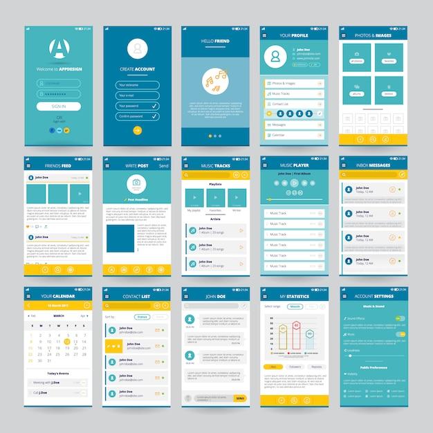 Набор мобильных экранов с пользовательским интерфейсом для приложений, включая фотографии музыкального плеера Бесплатные векторы