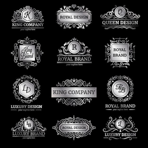 Набор серебряных роскошных этикеток с вкраплениями и вензелями декоративных украшений Бесплатные векторы