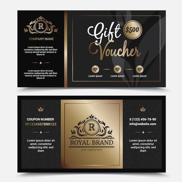 ギフト券ロイヤルブランドテンプレートの華やかな繁栄王冠 無料ベクター
