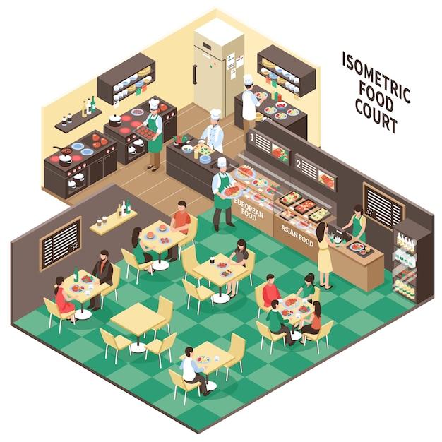 Изометрические фастфуд интерьер ресторана Бесплатные векторы