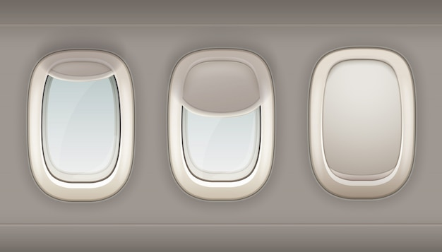 Три реалистичные иллюминаторы самолета из белого пластика с открытыми и закрытыми шторами вектор я Бесплатные векторы