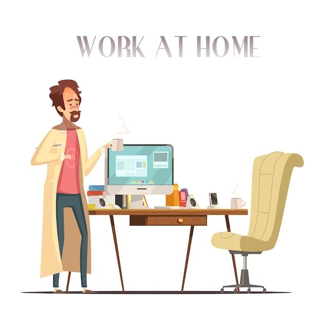 温度計と病気の熱い男はパジャマとバスローブレトロ漫画ベクトルで自宅のラップトップで動作します 無料ベクター