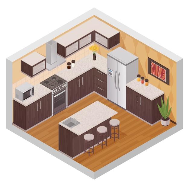 家庭用電化製品の等尺性スタイルのキッチンモダンなインテリアデザイン構成、 無料ベクター
