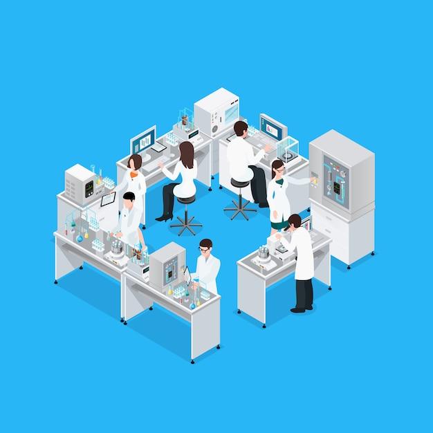 Состав научной лаборатории на рабочем месте Бесплатные векторы