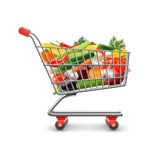 Овощи, делая покупки реалистичные концепции с корзиной для покупок и товаров векторная иллюстрация Бесплатные векторы