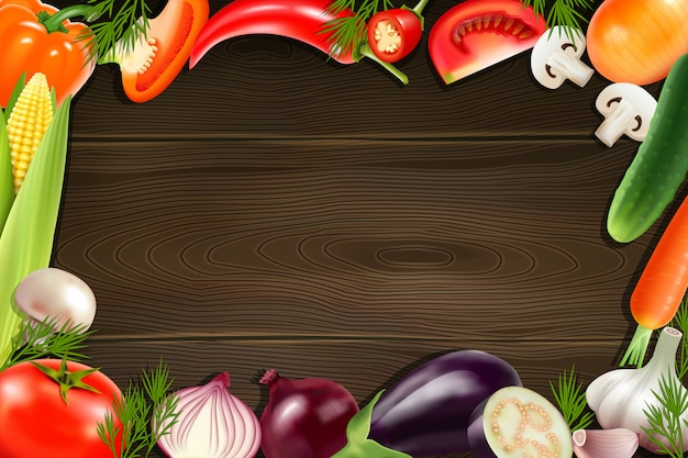 カラフルな全体とスライス野菜から構成されるフレームと茶色の木製の背景 無料ベクター