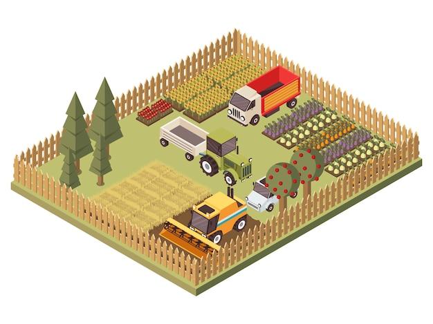 Сельскохозяйственные транспортные средства изометрические дизайн Бесплатные векторы