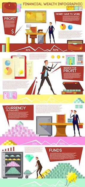 Финансовое богатство инфографики плакат с каракули стиль композиции офисного работника в поис Бесплатные векторы
