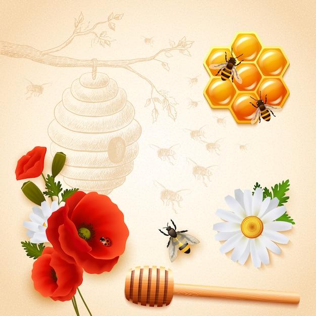着色された蜂蜜の構成 無料ベクター