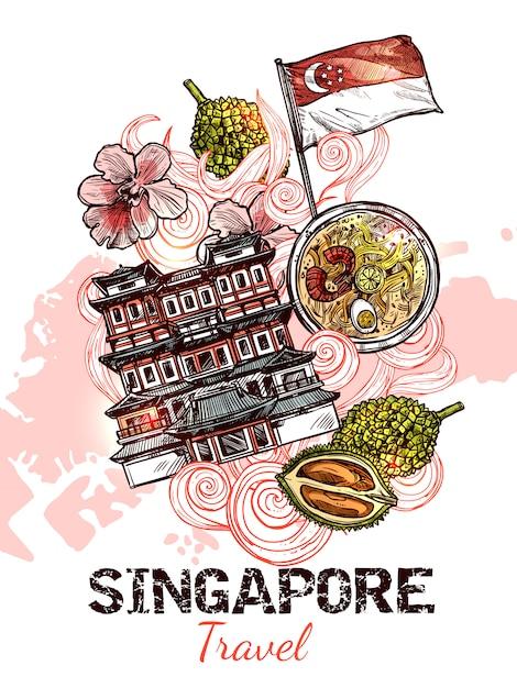Сингапур рисованной эскиз плакат Бесплатные векторы