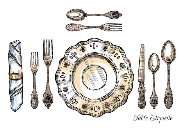 テーブルエチケット手描きイラスト 無料ベクター