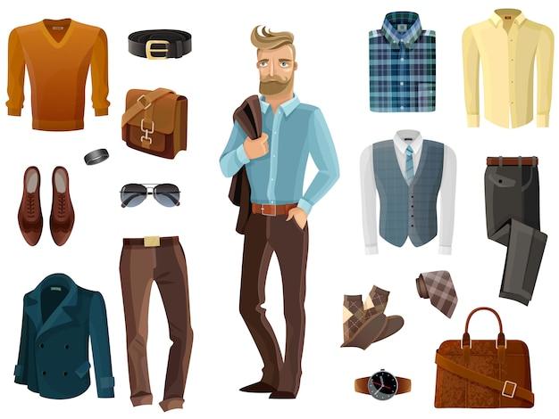 Модный мужской набор Бесплатные векторы