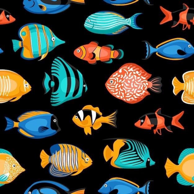 熱帯魚のシームレスパターン 無料ベクター