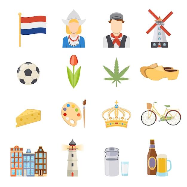 オランダのフラットアイコンセット 無料ベクター