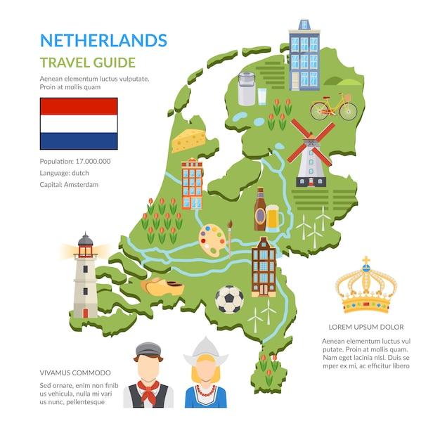 Нидерланды карта плоская инфографика Бесплатные векторы