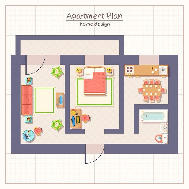 Иллюстрация архитектурного плана Бесплатные векторы