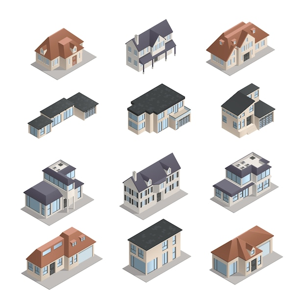 Изометрические мпдерные малоэтажные загородные дома разной формы установлены изолированно Бесплатные векторы