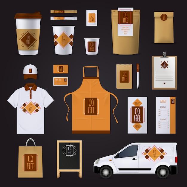 コーヒーコーポレートアイデンティティデザイン飾りフラット分離ベクトルイラスト付きのカフェの設定 無料ベクター