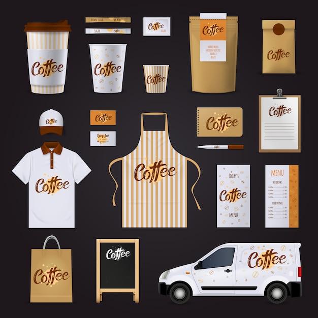 Набор шаблонов дизайна фирменного кофе для кафе с униформой для автомобильных стаканов по меню Бесплатные векторы