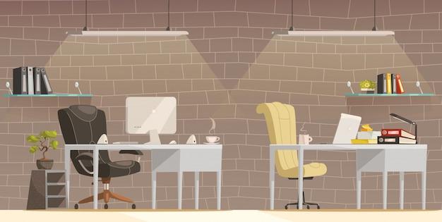 現代事務机の照明漫画ポスター 無料ベクター