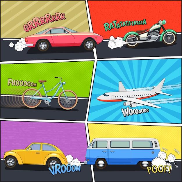 Движущийся автомобиль мотоцикл фургон и самолет в комических кадрах Бесплатные векторы