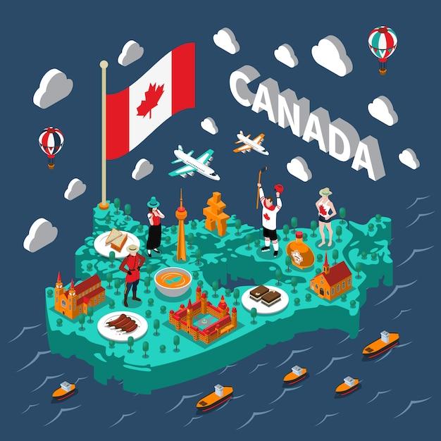 Изометрическая карта канады Бесплатные векторы