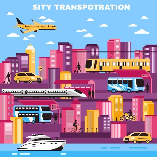 Городской транспорт векторная иллюстрация Бесплатные векторы