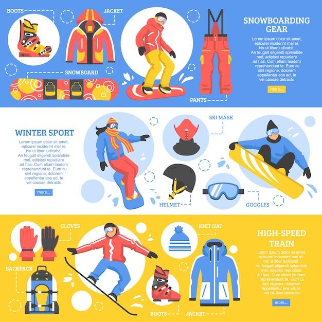 Горизонтальные баннеры для сноубординга Бесплатные векторы