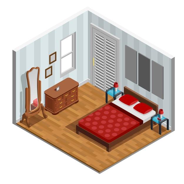 寝室等尺性デザイン 無料ベクター