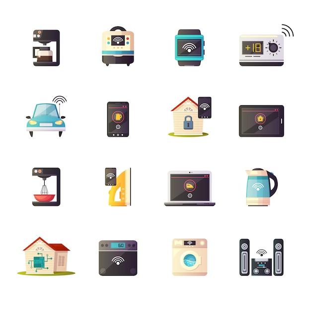 Интернет вещей в ретро коллекции мультяшных иконок Бесплатные векторы