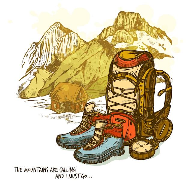 ハイキング手描きポスター 無料ベクター
