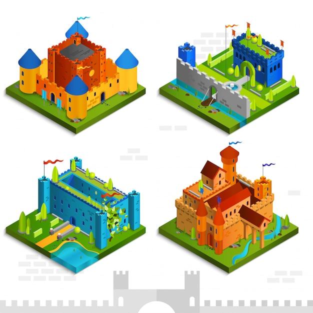 Средневековые замки изометрические коллекция Бесплатные векторы